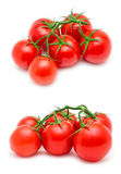 Bunch of red tomatoes. Two bunch of red tomatoes isolated on white background Royalty Free Stock Images