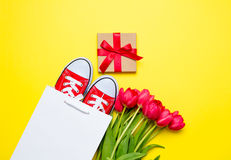 Bunch of red tulips, red gumshoes, cool shopping bag and beautif Royalty Free Stock Photos