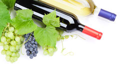 Bunch of red and white grapes and wine Stock Photo