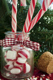 Bunch of red and white striped candy canes in glass jar on chri. Stmas background. Close up Stock Image