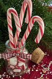 Bunch of red and white striped candy canes in glass jar on chris Stock Photo
