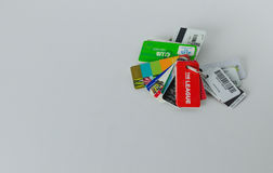A bunch of rewards cards attached to a key chain Stock Photo