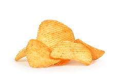 A bunch of ribbed potato chips Royalty Free Stock Photography