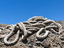 Bunch of rigging at seaside. Royalty Free Stock Photography