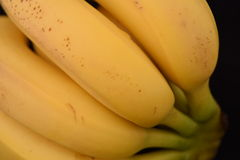 Bunch of Ripe Bananas. Bunch of ripe bananas isolated on a black background Royalty Free Stock Photo