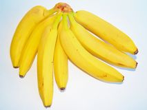 Bunch of ripe bananas on white background Stock Photos