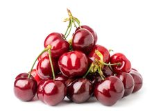 Bunch of ripe cherries on a white isolated. stock photos