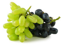 Bunch of ripe green and red grapes  on white Stock Photos