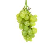 Bunch of ripe and juicy green grapes close-up Stock Images