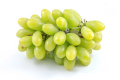 Bunch of ripe and juicy green grapes. Close-up on a white background Royalty Free Stock Images