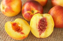 Bunch of ripe nectarine peaches Stock Photos
