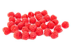 Bunch of ripe raspberries on white background Stock Image