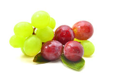 A bunch ripe red and green grapes Stock Images