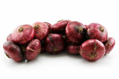 Bunch of Ripe Red Onion Isolated on White Royalty Free Stock Image
