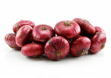 Bunch of Ripe Red Onion Isolated on White Stock Images