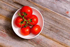 Bunch of ripe red tomatoes on the vine Royalty Free Stock Images