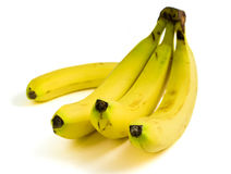 A bunch of ripe yellow bananas. Isolated on white background Stock Images