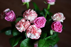 Bunch of rose and carnation flowers Stock Photo