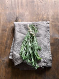 Bunch of rosemary on a napkin Royalty Free Stock Image