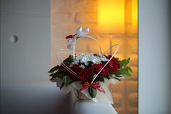 Bunch of roses and chrysanthemums Stock Photo