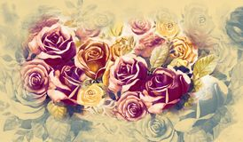 Bunch of roses in the garden and emotion in realistic vintage. Illustration painted spring flowers colorful bunch of roses in the garden and emotion in Royalty Free Stock Image
