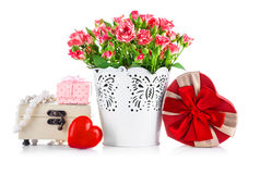 Bunch roses and gift on valentines day Stock Images