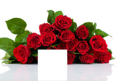 Bunch of roses and greeting card Stock Image