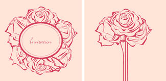 Bunch of roses invitations Stock Photos