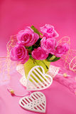 Bunch of roses on pink background Royalty Free Stock Images