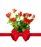 Bunch of roses with a red bow. Stock Images