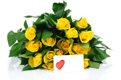 Bunch of roses and valentine card Royalty Free Stock Images