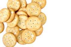 A bunch of round salted crackers Royalty Free Stock Photography