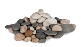 A bunch of round sea pebbles. On white background Stock Photo