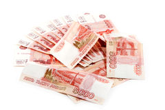 Bunch of Russian money. A lot of Russian five thousandth of banknotes on a white background Royalty Free Stock Photo