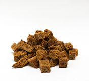 Bunch of rye bread. Home-made brown croutons on white background Stock Images