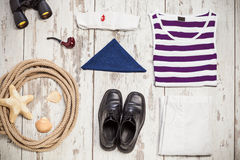 Bunch of sailor clothes and equipment Stock Images