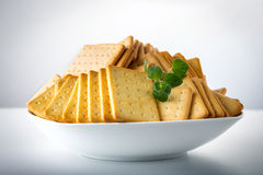 bunch of salty crackers stacked in to the pillars Royalty Free Stock Image