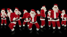 Bunch of Santa Claus Dancing Against Black, Christmas Holiday Background, Alpha Matte, stock footage