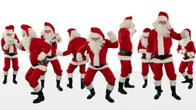 Bunch of Santa Claus Dancing Against White, Christmas Holiday Background, Alpha Matte, stock footage stock video footage
