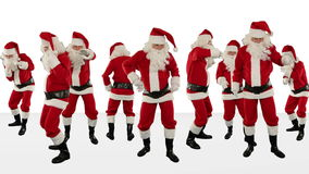 Bunch of Santa Claus Dancing Against White, Christmas Holiday Background, stock footage Royalty Free Stock Photos