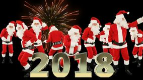 Bunch of Santa Claus Dancing and 2018 sign with fireworks vector illustration