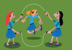Skipping Rope game. A bunch of school girls playing skipping rope Royalty Free Stock Photography