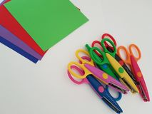 Colorful scissors for crafting, Art project, Art class. Bunch of scissors laying on a white background, Art project, Art class, Arts and crafts material stock images