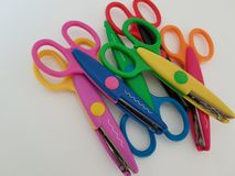 Colorful scissors for crafting, Art project, Art class royalty free stock photography
