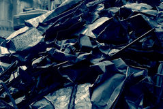 Bunch of sheet metal, metal scrap, dismantled pieces sheet metal of old roof Royalty Free Stock Image