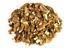 Bunch of shelled walnuts on white Royalty Free Stock Photos