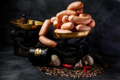 Bunch of wieners in spiral with garlic, chili and mushrooms. Bunch of short thick wieners rolled in spiral on antiquarian scales with garlic, red chili pepper stock photos