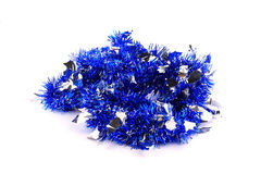 Bunch of silver-blue garland. Bunch of blue spangles garland for the Christmas tree royalty free stock photo