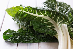 Bunch of silverbeet on a rustic wooden background Royalty Free Stock Photo