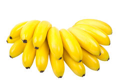 The bunch of small bananas isolated on white Stock Photography